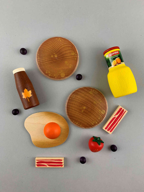Woodberry Erzi Assorted American Breakfast Wooden Play Food Toy Set