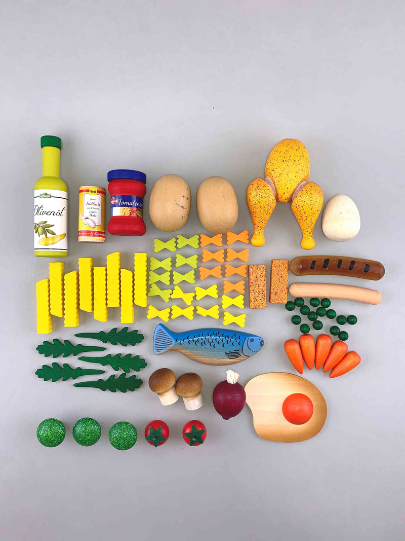Woodberry Erzi Assorted Cooking Enjoyment for Play Kitchen Food Wooden Toy Set