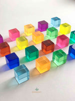 bauspiel lucite cubes lucent cubes. open ended toy from Germany. available in 100 pcs and 20 pcs