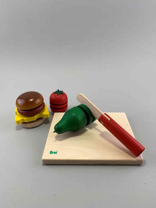 Wooden Cheeseburger Cutting Play Set