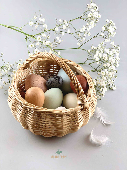 Erzi x Moon Picnic colab wooden egg basket with 12 eggs