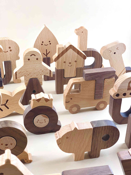 Wooden Alphabet Play Block Set