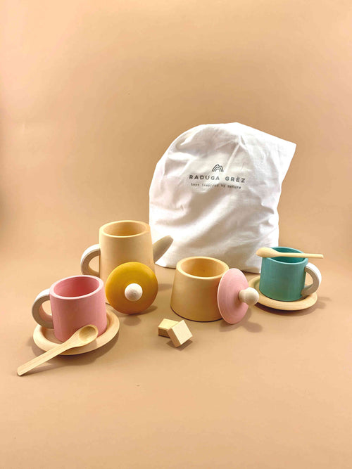 Tea Set - Mustard and Pink