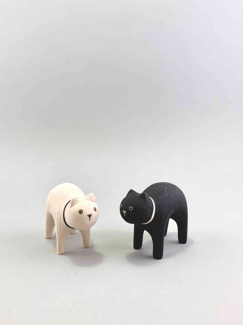 Wooden Cat Pair Set