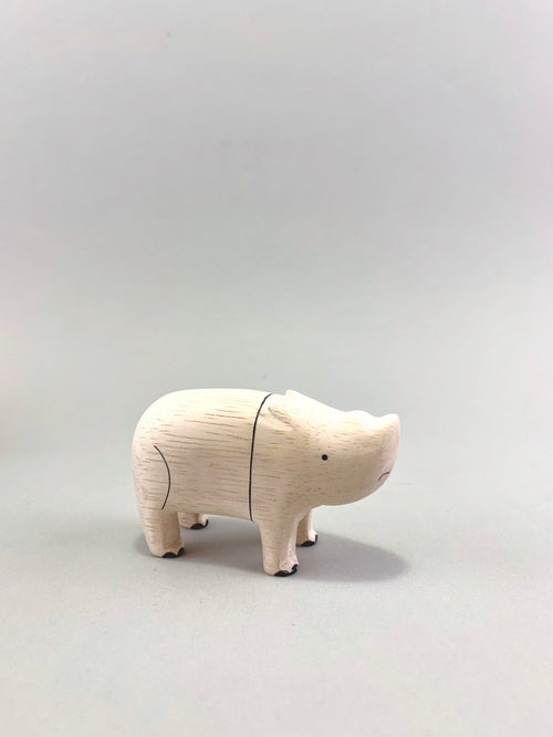 Wooden Rhinoceros Figure