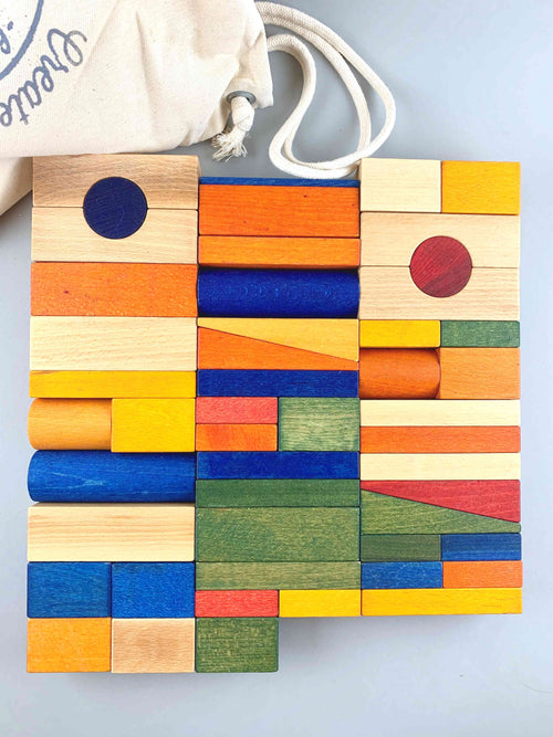 Wooden Rainbow Blocks in a Sack XL 50pcs