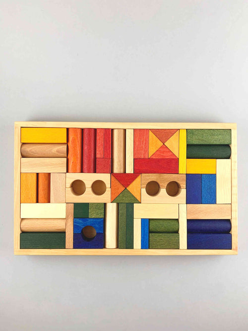Wooden Rainbow Blocks in Tray 54pcs