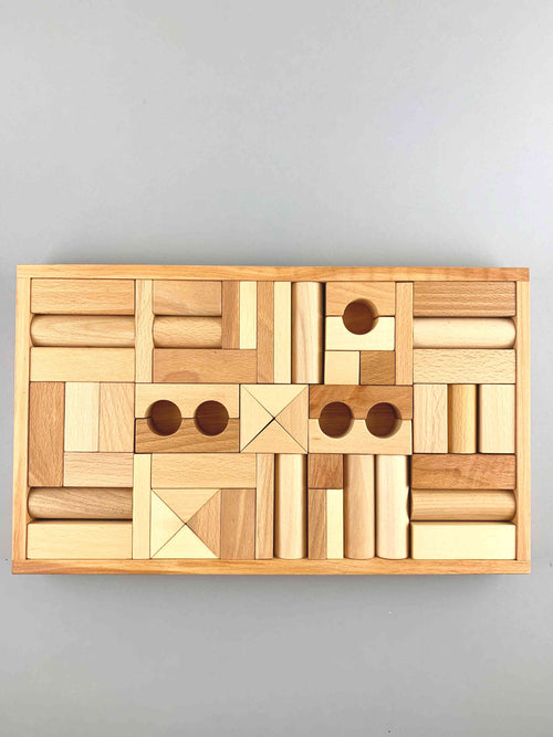 Wooden Natural Blocks in Tray 54pcs