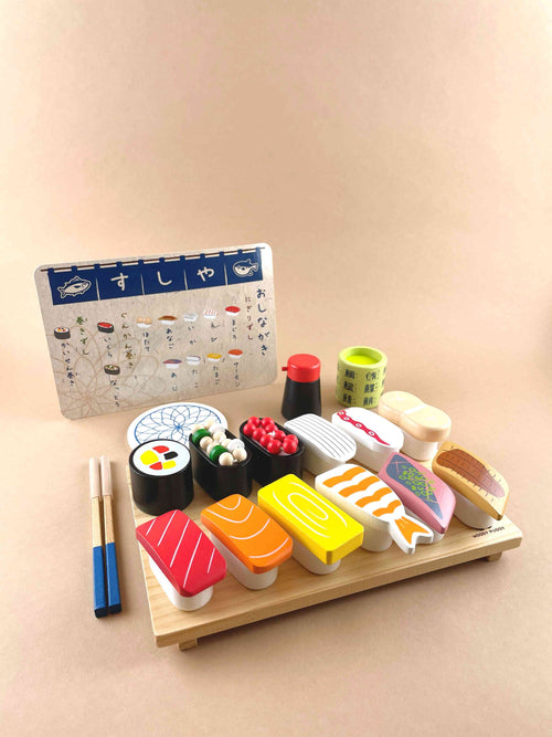 Wooden toy sushi japanese food Woodberry Toys USA