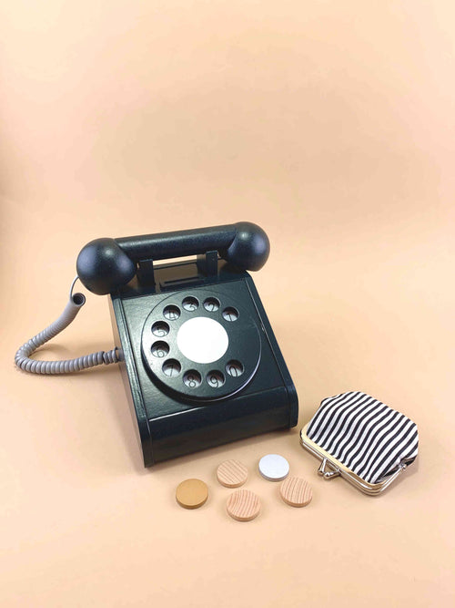 Kiko and GG wooden toy retro phone in black