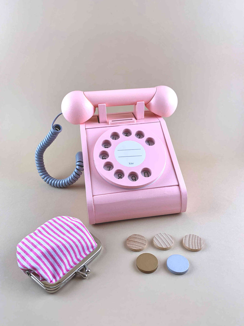 kiko and gg wooden retro telephone toy in pink with coin purse and coins