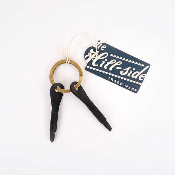 Stamped Brass Key Ring w/ Screwdrivers