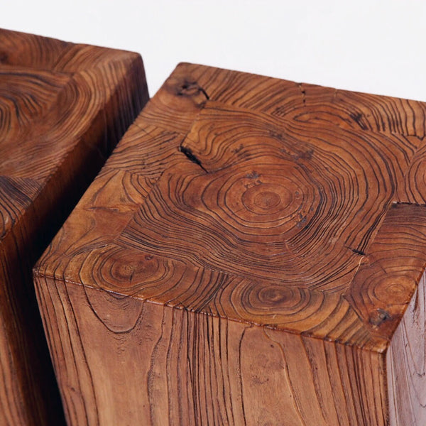Antique Solid Elm Side Tables