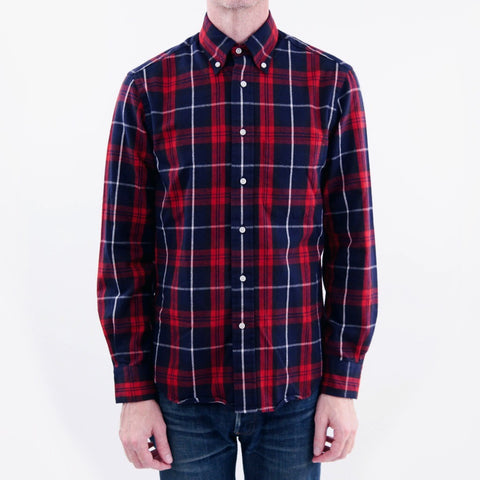 The Classic Button Down - Red/Navy Plaid Flannel