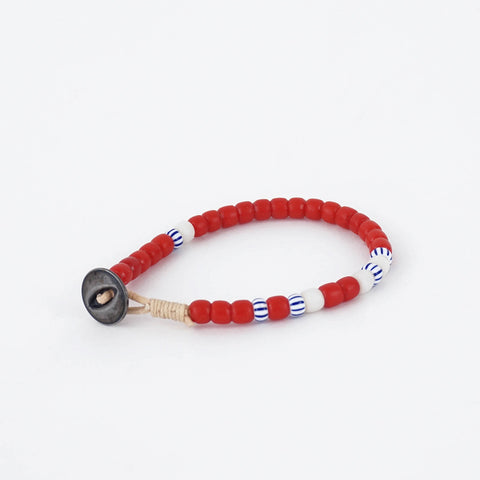 Made Solid LA Antique Trade Bead Bracelet Red