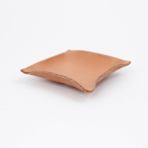 Made Solid Hand Shaped leather tray natural