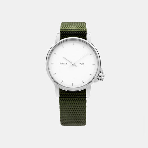 Miansai M24 II Japanese Watch - White / Hunter Green Nylon strap