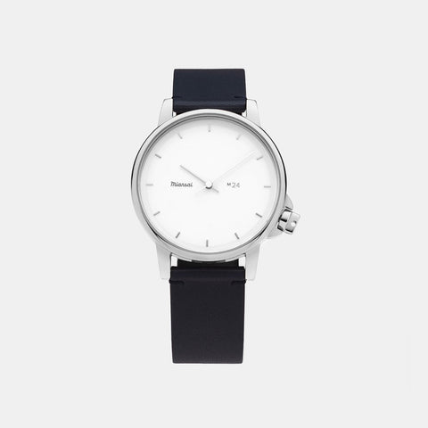 Miansai M24 II Japanese Watch - White / Navy Leather