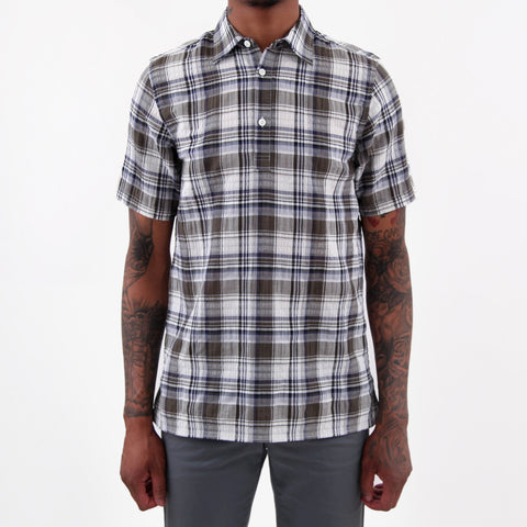 Norse Projects Theo Textured Check Shirt Dried Olive