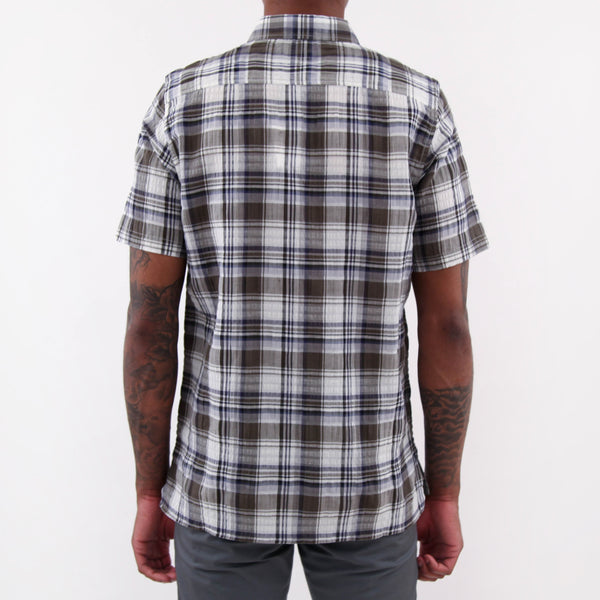 Theo Textured Check Shirt - Dried Olive