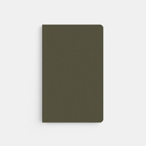 Public Supply 5x8 ruled embossed notebook olive