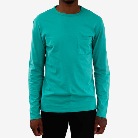 Saturdays James Pima Long Sleeve T‑Shirt Sea Foam Green