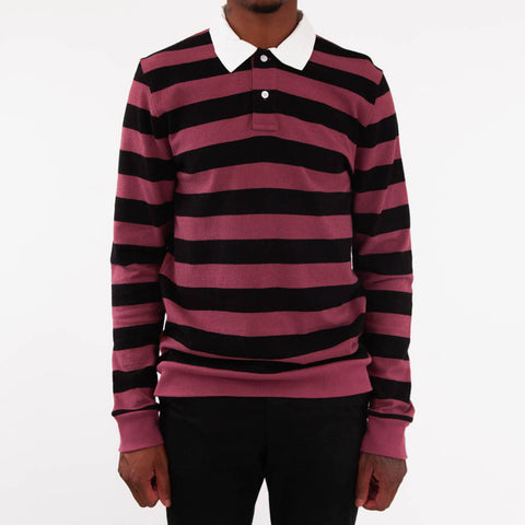 Sanders Stripe Long Sleeve Polo - Light Plum