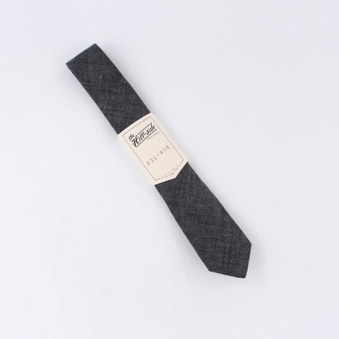 The Hill-Side Pointed Tie Selvedge Chambray Black