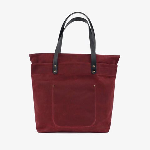 Winter Session Zip top tote backpack burgundy canvas
