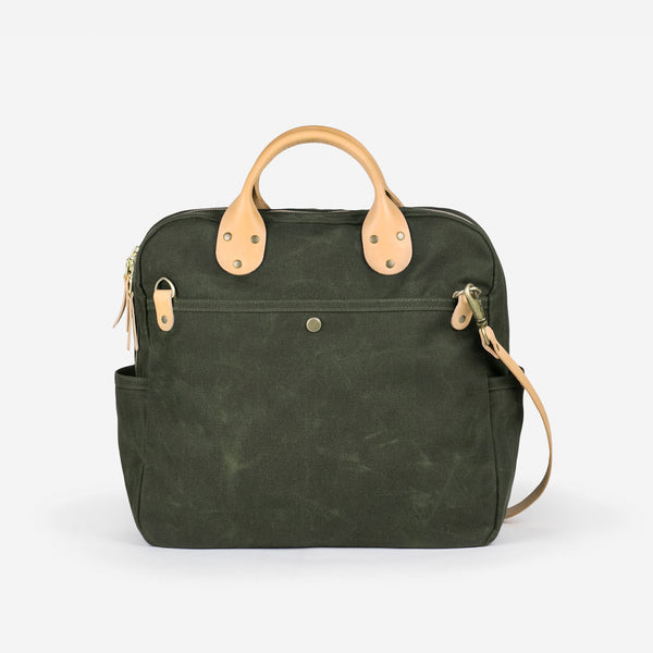 Day Bag - Olive Waxed / Natural Leather