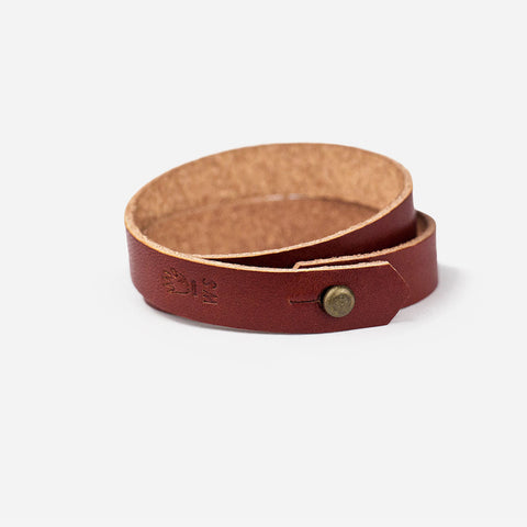 Double Wrap Leather Cuff - Cognac