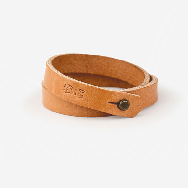 Double Wrap Leather Cuff - Tan