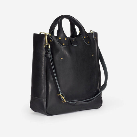 winter session leather garrison tote bag black