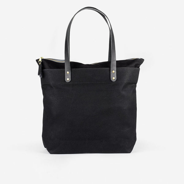 Zip-top Tote - Black/Black