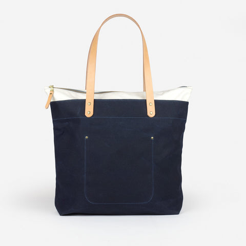 Winter Session Zip-top Tote Navy Natural Waxed