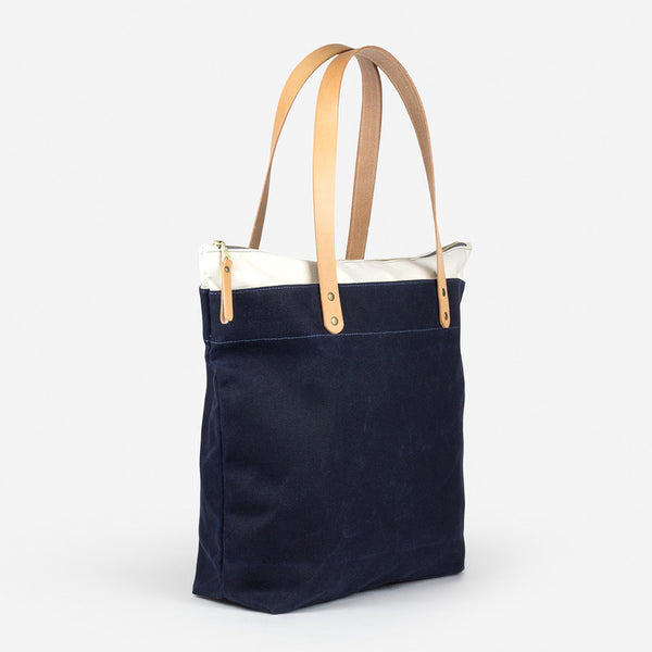 Zip-Top Tote - Navy/Natural