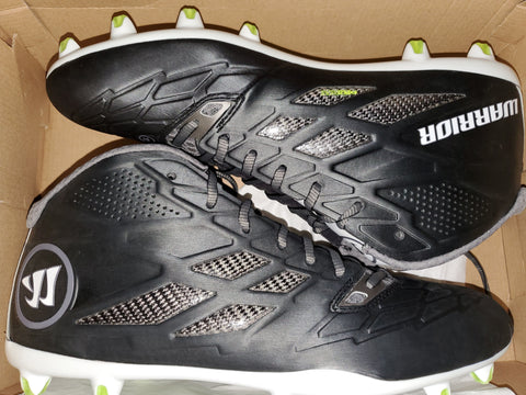 Warrior Burn 8.0 Mid Field Lacrosse Cleats - Model BURN8MDD - Black/White - New