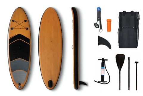 WATER TREADER Premium Bamboo Inflatable Stand-Up Paddleboard, SUP, 10'6, Complete Package with Air Pump