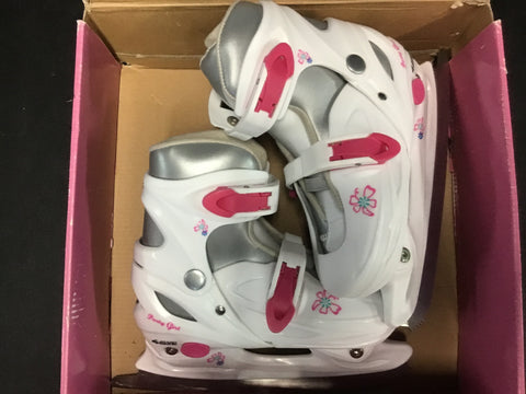 American Party Girl Adjustable Figure Skates - White/Pink - Youth Size 1-4 - New