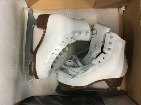 Jackson Artiste Figure Skates - White/Brown - Youth Size 12M - New