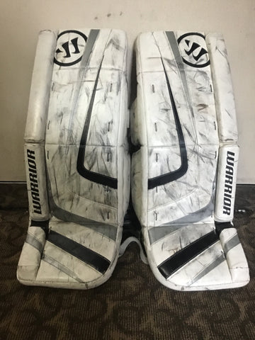 Warrior Ritual Pro Ice Hockey Goalie Pads - White/Black - Junior Size 28+1 - Used - Good