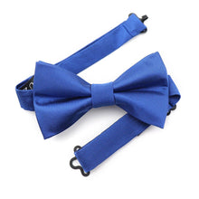 Load image into Gallery viewer, Want to stand out from the crowd like a royal, the Louzo Le Blanc bow tie was made for you. Some may call the colour Royal Blue, we call it Le Bleu. Its 100% Silk and has the option to be personalised by being monogrammed in 1 of 5 different colours.
