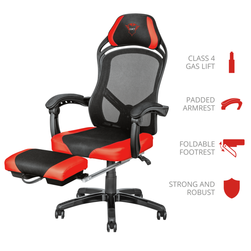 GXT 706 Rona Gaming Chair with Footrest | Black & Red
