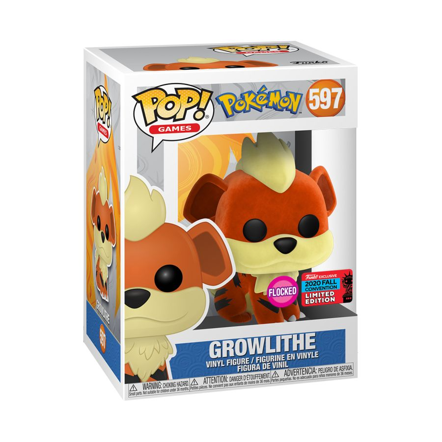 Pokemon - Growlithe Flocked NYCC 2020 US Exclusive Pop! Vinyl