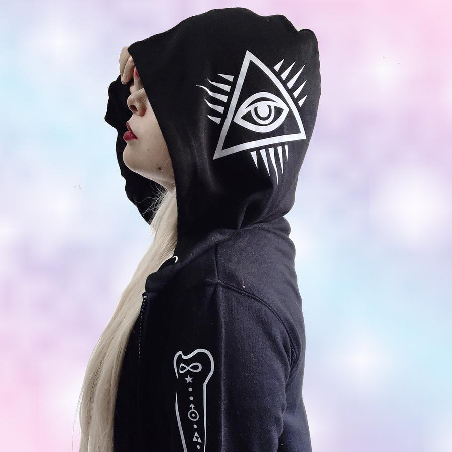 Bone Collecting Occult Bones Evil Eye Zip Hoodie