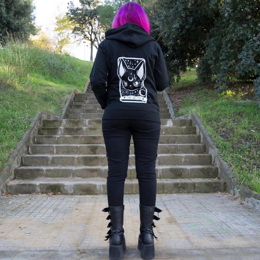 Witchy Black Cat Tarot Card Zip Hoodie