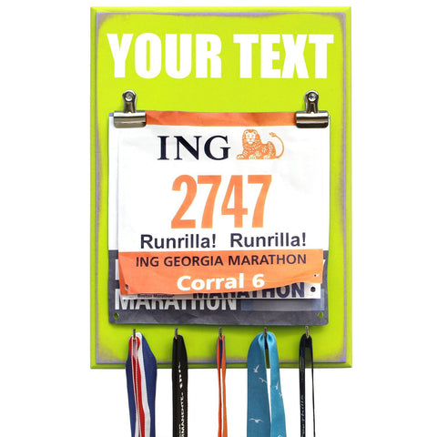 medal and bib display hanger create your own text runrilla llc