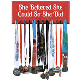 SHE BELIEVED SHE COULD SO SHE DID Medal Display Holder Rack