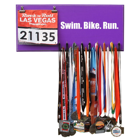 SWIM. BIKE. RUN Medal and Bib Hanger, Holder, Display
