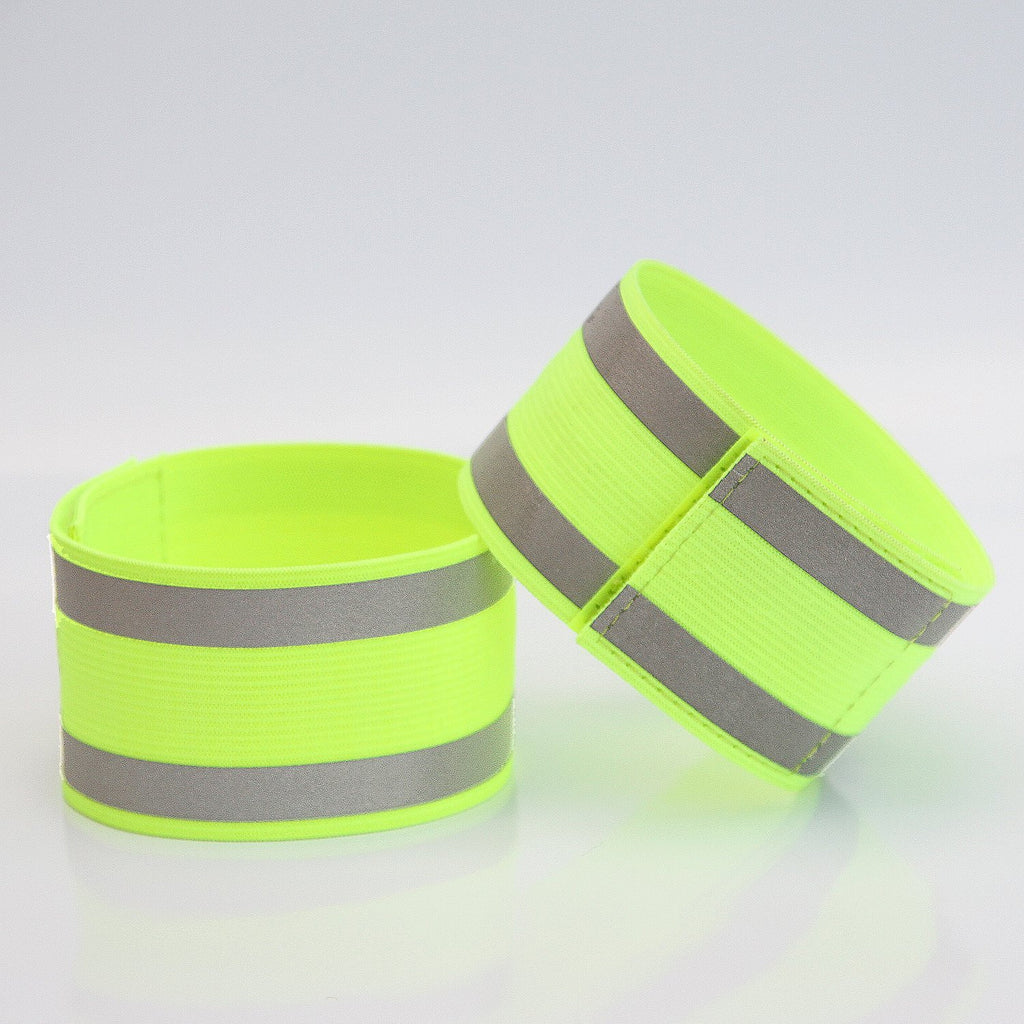 Best High Visibility Adjustable Reflective Arm Ankle Bands - Set of Two - High Quality Fabric Material